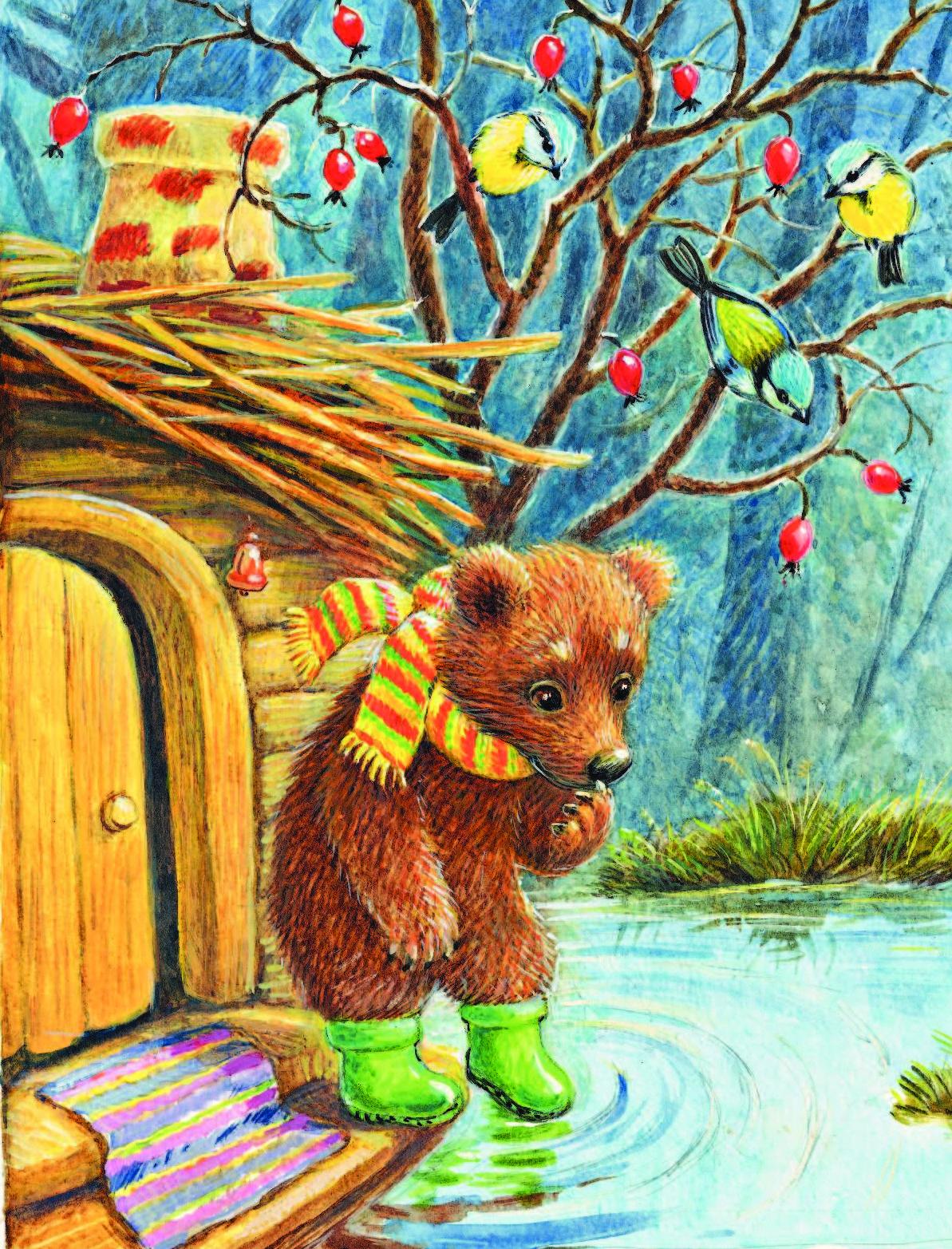 Открытка с белками и медведем